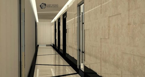 Bank of East Asia Harbour View Centre:  Corridor & hallway by GARY WONG Interior Design