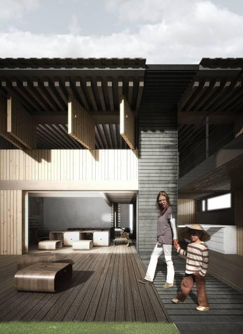 INTEGRACIÓN DEL INT CON EL EXT: Jardines de estilo industrial por gOO Arquitectos