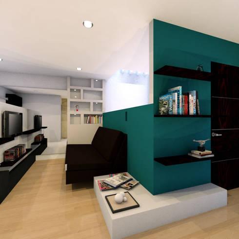 Render de presentacion: Salas multimedia de estilo moderno por Efrain Monroy - Estudio: MNY Arquitectura y Construcción