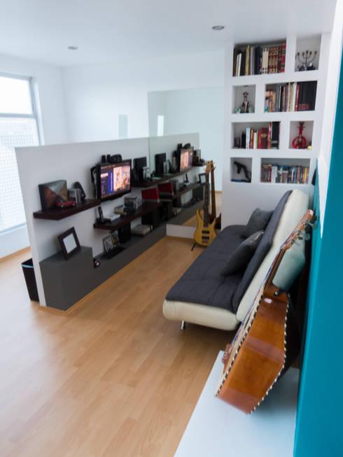 Terminacion de la Sala: Salas multimedia de estilo moderno por Efrain Monroy - Estudio: MNY Arquitectura y Construcción