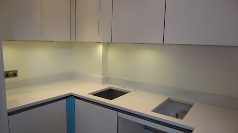 Before photo of countryside splashback: modern Kitchen by Glartique Ltd