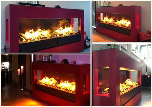 Concept nr. 5 - Elektrischer Kamin mit Opti-myst Kamineinsatz: moderne Wohnzimmer von Kamin-Design GmbH & Co KG