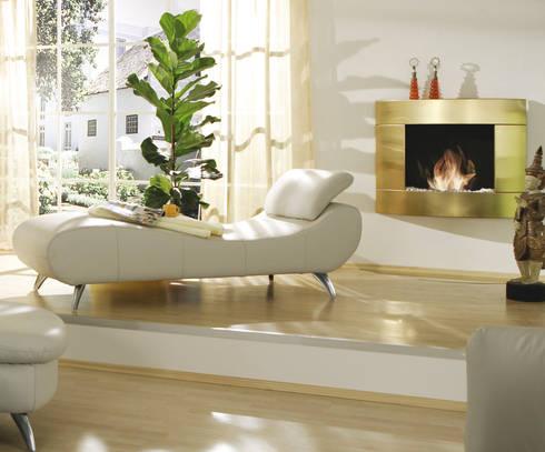 Golden Silence Wandkamin aus Edelstahl mit Titanbeschichtung: moderne Wohnzimmer von Kamin-Design GmbH & Co KG