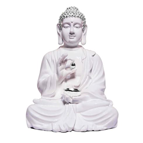 Polystone Lord Buddha Lotus Sculpture Holding Silver Alms Bowl:  Artwork by M4design