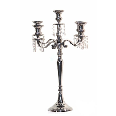 Nickel Plated 5 – Arm Crystal Drop  Candelabra:  Living room by M4design