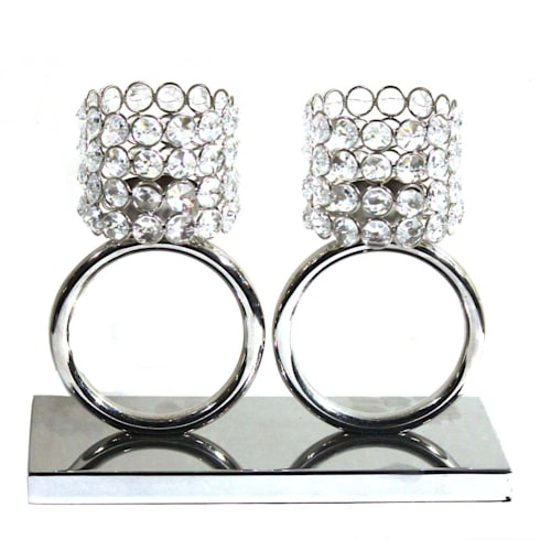 Twin Crystal Ring Tea Light Holders:  Kitchen by M4design