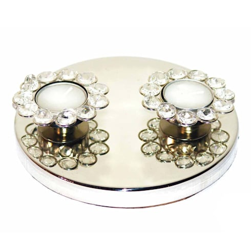 Twin Crystal Tealight Candle Holders:  Household by M4design