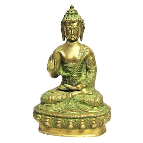 Lord Buddha Green Patina Brass Statue:  Artwork by M4design
