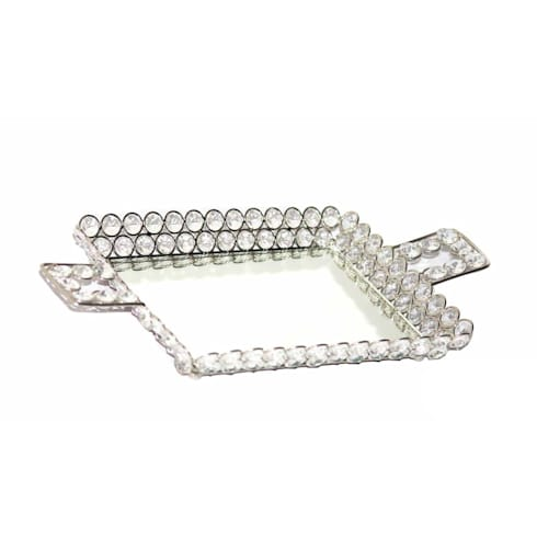Rectangular Crystal & Mirror Dry Fruit Serving Tray:  Kitchen by M4design