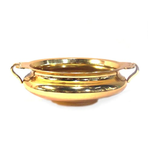 Decorative Gold Plated Brass Urli With Handle: asian Kitchen by M4design