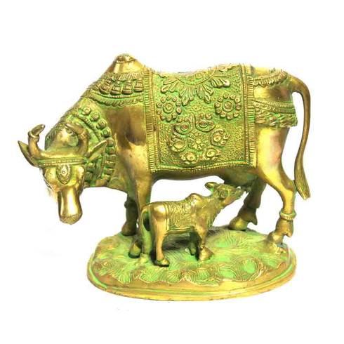 Green Brass Kamdhenu Statue -Sacred Wish Fulfill Cow:  Artwork by M4design