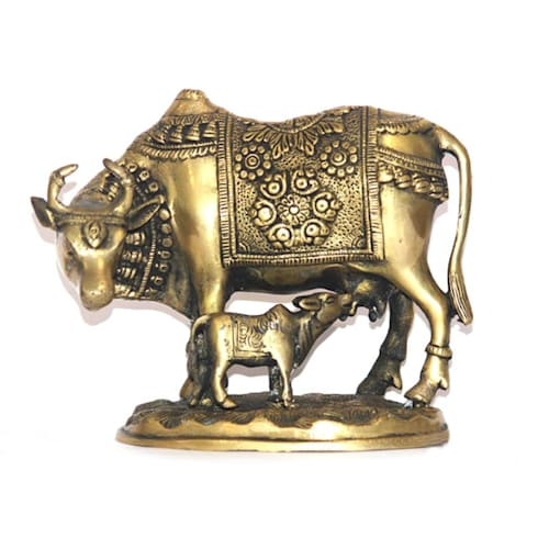 Brass Kamdhenu Cow and Calf Sculpture / Sacred Wish Fulfilling Idol:  Artwork by M4design