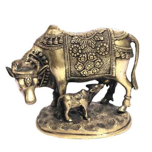 Antique Brass Kamdhenu Cow & Calf Statue:  Artwork by M4design