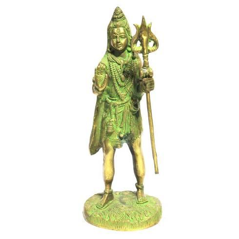 Green Brass Shiva Statue -Hindu Trinity God of Protection:  Artwork by M4design