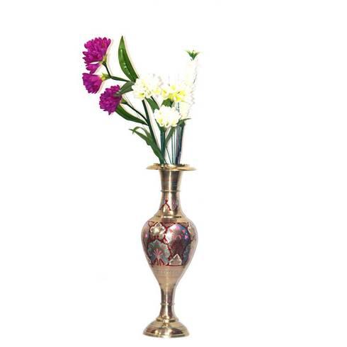 Brass Embossed & Enameled Flower Vase:  Garden  by M4design