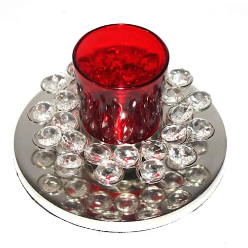 Crystal Decor Red Glass Votive Tealight Holders:  Household by M4design