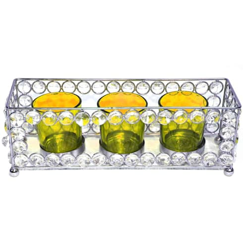 Crystal Frame Triple Amber Glass Tealight Holders:  Household by M4design