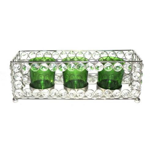 Crystal Frame Triple Green Glass Tealight Holders:  Household by M4design
