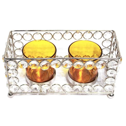 Crystal Frame Double Amber Glass Candle Holders:  Household by M4design