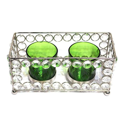 Crystal Frame Double Green Glass Candle Holders:  Household by M4design