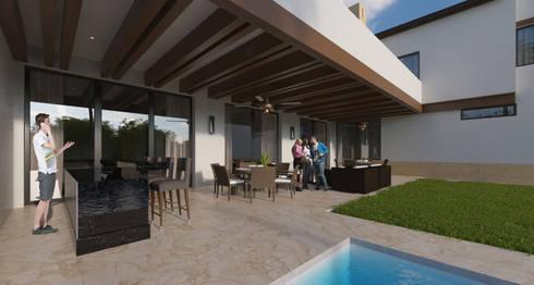 Terraza social :  de estilo  por Eugenio Adame Arquitectos