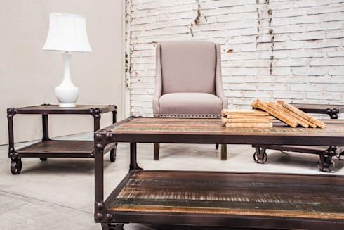 Mesas Denver y sillon Dakota: Salas de estilo industrial por Consorcio del Toro