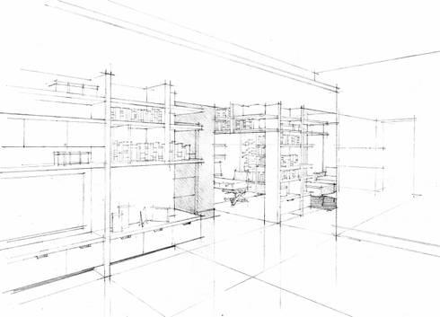 Perspectiva Family Room:  de estilo  por ArquitectosERRE