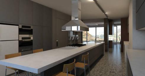 Render Cocina: Cocinas de estilo moderno por ArquitectosERRE