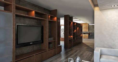 Render Family Room: Salas multimedia de estilo moderno por ArquitectosERRE