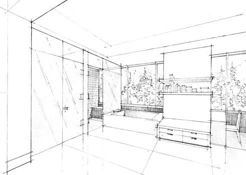 Perspectiva Baño Principal:  de estilo  por ArquitectosERRE