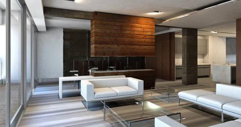 Render Sala y Comedor: Salas de estilo moderno por ArquitectosERRE