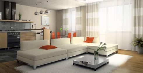 Decoración de interiores.: Salas de estilo moderno por Softlinedecor