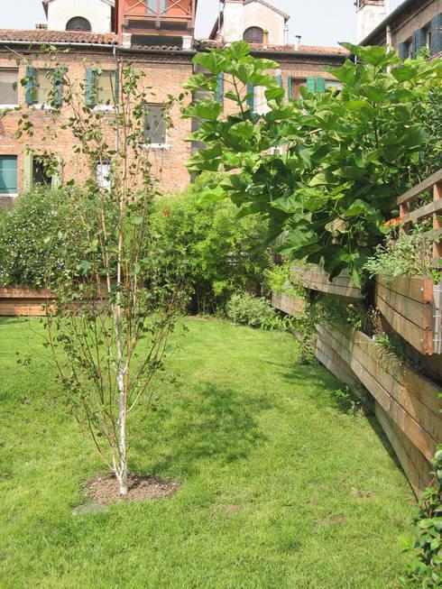 esterno - giardino con vasche pensili: Case in stile  di nicola feriotti studio