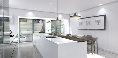 3D visuals for HUB KITCHEN:  Kitchen by Outsourcing Interior Design