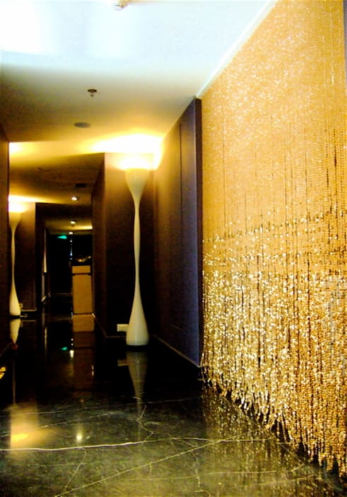 Champagne Gold Acrylic Crystal Bead Curtain:  Windows & doors  by Memories of a Butterfly: bead curtains/screens/installations/Hanging Sculptures