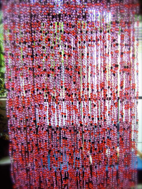 Pomegranate Purple-Red Gold Bead Curtain: rustic Living room by Memories of a Butterfly: bead curtains/screens/installations/Hanging Sculptures