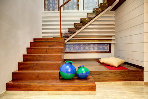 Staircase: modern Houses by Studio An-V-Thot Architects Pvt. Ltd.