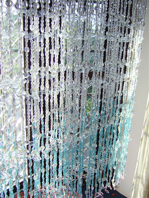 Topaz Leaf Bead Curtain:  Artwork by Memories of a Butterfly: bead curtains/screens/installations/Hanging Sculptures