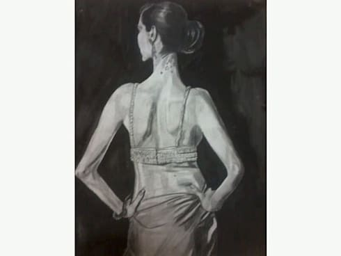 Charcoal and pencil art works for colonial style interiors:  Artwork by SHEEVIA  INTERIOR CONCEPTS