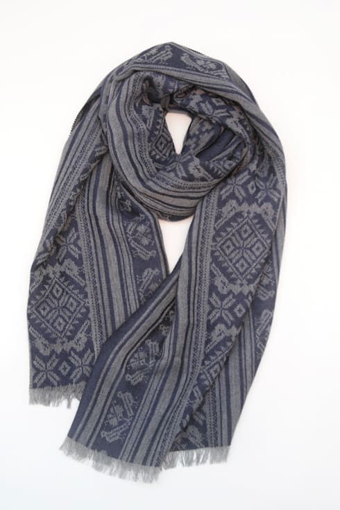 Hungarica :: Mens Cashmere Scarf :: Grey / Navy  : classic Dressing room by Julia Brendel Limited
