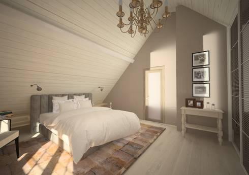 Chambre à couche moderne avec des éléments rustique par Veronika ...