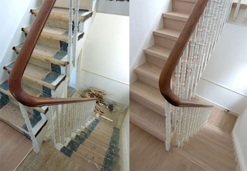 Stairs - Before and after: modern Corridor, hallway & stairs by Fine Oak Flooring Ltd.