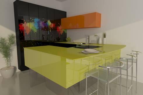 Cocina de vidrio: Cocinas de estilo ecléctico por fabrè
