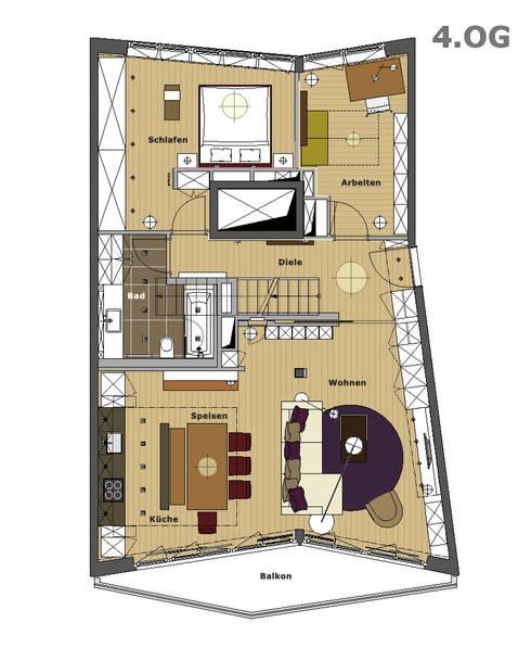 maisonettewohnung por eswerderaum homify. Black Bedroom Furniture Sets. Home Design Ideas