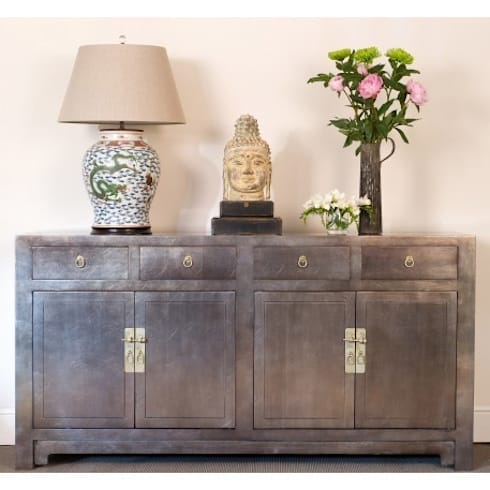 Silver Leaf Lacquer Sideboard: asian Living room by Orchid