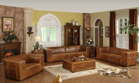Rustic Leather Sofa: rustic Living room by Locus Habitat