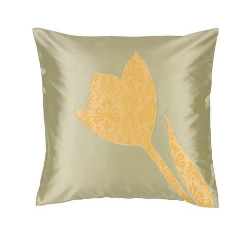 Tulip Handmade Silk Cushion: tropical Living room by Le Cocon