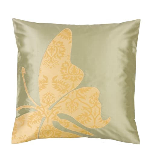 Butterfly Handmade Silk Cushion: asian Living room by Le Cocon