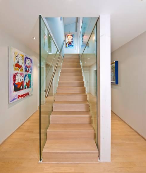 Corridor, hallway & stairs  by Bau-Fritz GmbH & Co. KG