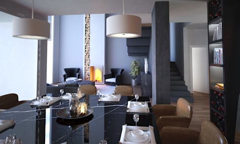 -: Comedores de estilo moderno por Ambianto Arquitectos